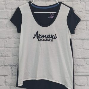 Armani Exchange   White & Navy Embroidery Front T